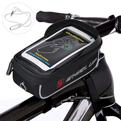 Waterfly Bike Frame Bag Waterproof Bike Front Tube Handlebar Bag Bicycle Bag with Touch Screen Phone Case for iPhone X/8/7 plus/7/6s/6 plus/5s (Grey)