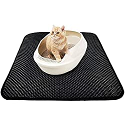 """Cat Litter Mat, Double Layer Cat Litter Trapper Rug, Water Resistant, Traps Messes, Scatter Control,Floor/Carpet Protection, Easy Clean Mats (S (20"""" x 16""""))"""