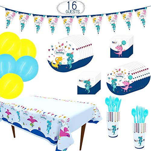 Tinfun Dinosaur Party Supplies Kit - 148 pcs with Banner,Balloon,Plates,Cups,Napkins,Table Cover,Tableware and Ribbons for Kids' Birthday Party Decoration,Serves 16