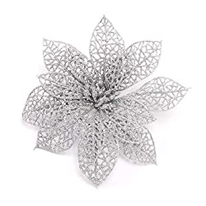 Christmas Artificial Flowers - Glitter Hollow Christmas Artificial Flowers Adornment Silver - Leaves Vases In With Tree And For White Vase Cemetery 1