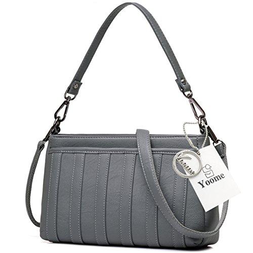 Yoome Streakiness Gran Capacidad Multilayer Reacción Bolsas Para Las Mujeres Envelope Bag Clutch - Rojo Gris