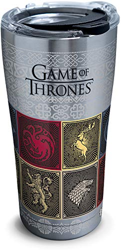 Breed Stainless Steel Travel Mug - Tervis 1325309 HBO Game of Thrones - House Sigils Insulated Travel Tumbler & Lid, 20 oz - Stainless Steel, Silver