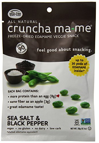 Eda-Zen Cruncha ma-me Edamame Veggie Snack, Sea Salt & Black Pepper, 0.7 Ounce (Pack of 8)