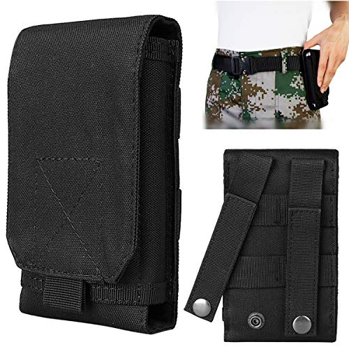 IronSeals Tactical MOLLE Smartphone Holster, Universal Mobile Phone Belt Pouch EDC Security Pack Carry Accessory Pouch Belt Loops Waist Bag for i phoneX XS Sansung S10e/S10/S10 Plus ()