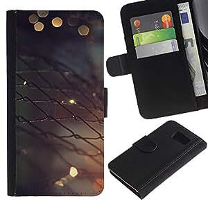YiPhone /// Tirón de la caja Cartera de cuero con ranuras para tarjetas - Valla metálica - Samsung Galaxy S6