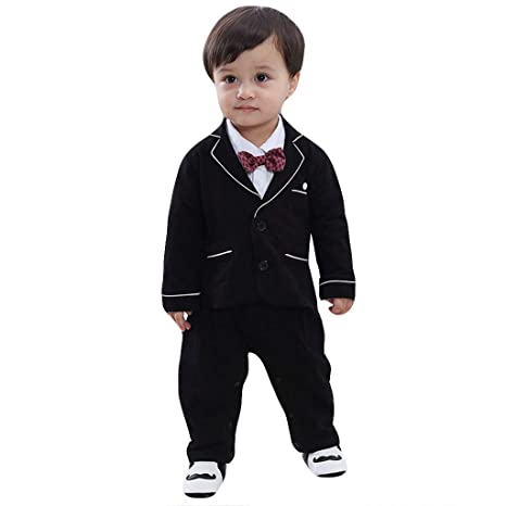 bfffdc4b4b2c3 2pcs Baby Boy Dress Clothes Toddler Outfits Infant Tuxedo Formal Suits Set  Shirt + Pants Bowtie