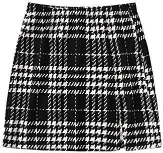 SheIn Women's Basic Stretch Plaid Mini Bodycon A-Line Pencil Skirt