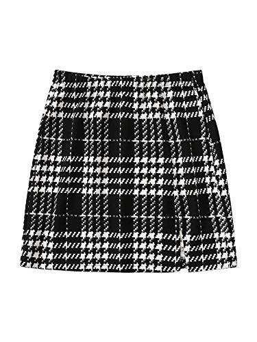 SheIn Women's Basic Stretch Plaid Mini Bodycon A-Line Pencil Skirt Black and White Medium