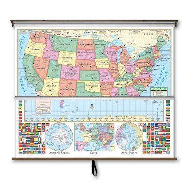 Primary Map Wall - Primary Wall Map Combo - U.S. / World Backing: On Roller
