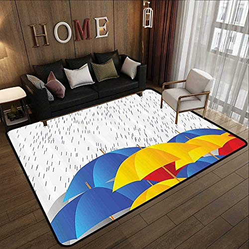 Bathroom mats and Rugs,Modern,Cartoon Image with Raindrops Colorful Umbrellas Animation Like Art Print,Yellow Blue White Red 55