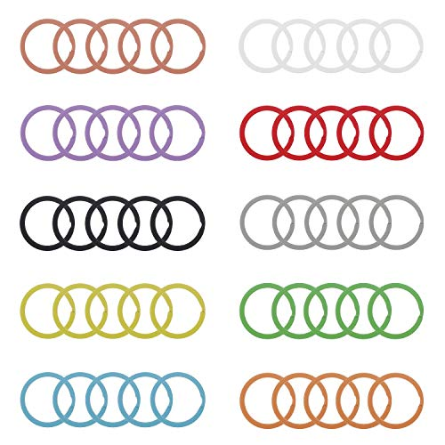 Udekit 25mm Metal Split Colorful Key Ring for Keys Organization (50 Pieces A Set for 10 Colors, Each Color with 5 Pieces)
