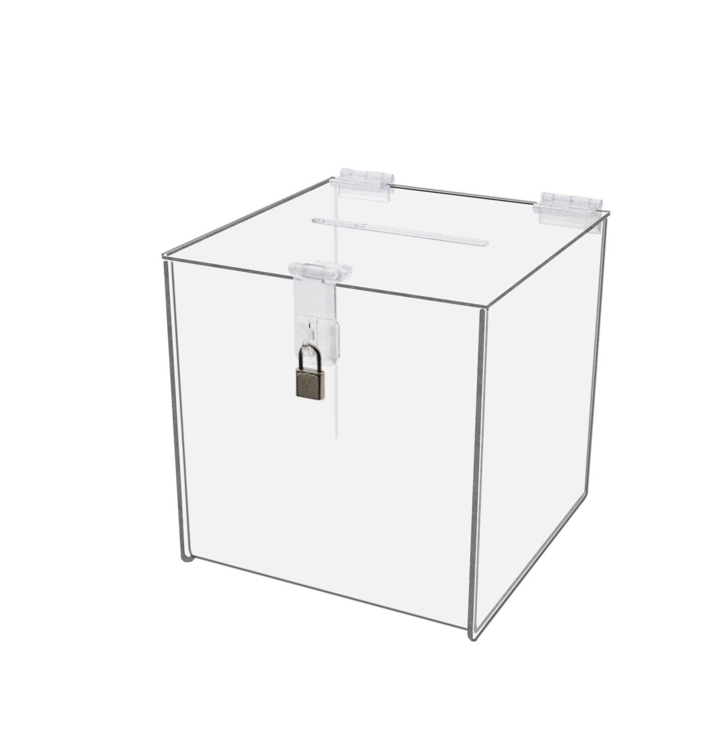 "Clear Acrylic Ballot Suggestion Box 10/""x10/"" w// Header"