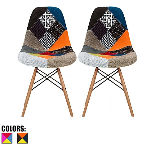 2xhome - Set of Two (2) Multicolor – Modern Upholstered Eames Style Side Fabric Chair Patchwork Multi-pattern Natural Wood leg Eiffel Dining Room Chair No arm - Designer Style Fabric Upholstered Chair