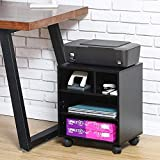 FITUEYES Underdesk Wooden Printer Stand On Wheels with Storage Unit PS404001WB