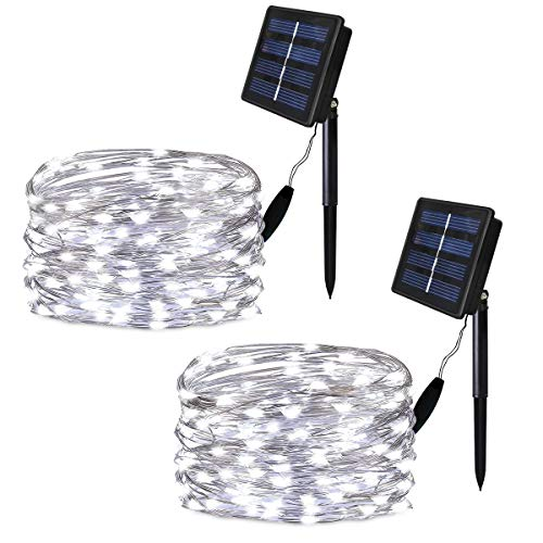 Solarmks Solar String Lights 2 Pack 100 Led Solar Fairy Lights Waterproof Outdoor String Lights 33ft Copper Wire Lights For Patio Lawn Garden Gate Yard Party Wedding Christmas Decoration Cool White