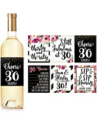 6 30th Birthday Wine Bottle Labels or Stickers Present, Dirty Thirsty Flirty Thirty Bday Gifts For Women, Cheers to 30 Years, Funny Pink Black Gold Party Decorations Supplies For Wife, Girl Mom Friend