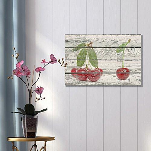 Red Cherries on Vintage Wood Background Rustic ation