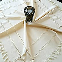 """Secret Sea Collection - Handmade, %100 Natural Cotton, Traditional Small Tea & Coffee Table Tablecloth, Decorated with Wooden Beads, Square, Round Table Tablecloth, (36""""x36""""),Cream-Beige"""