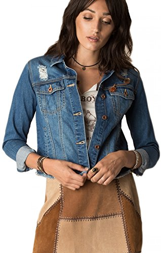 White Crow WJ171422 West Trails Distressed Denim Jacket in Indigo (Small)