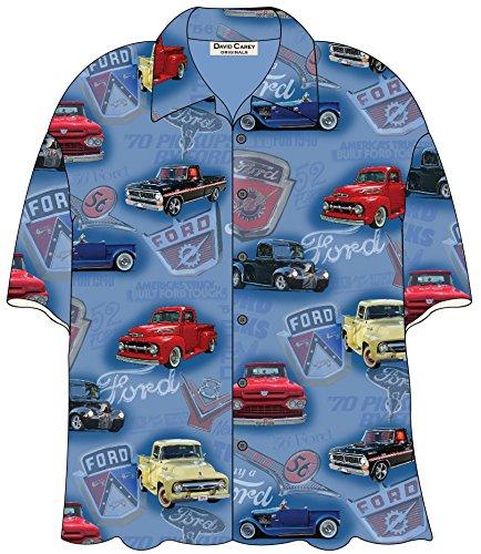 David Carey Ford Classic Pickup Trucks Camp Hawaiian Shirt, Blue, 3X