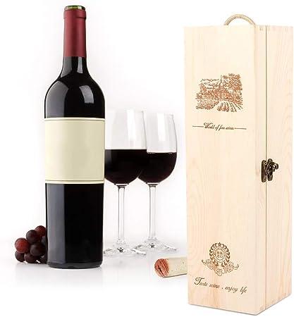Fishlor Caja de Regalo de Vino, Caja de Vino Retro Exquisita Caja de Almacenamiento de Vino Tinto de 13.8