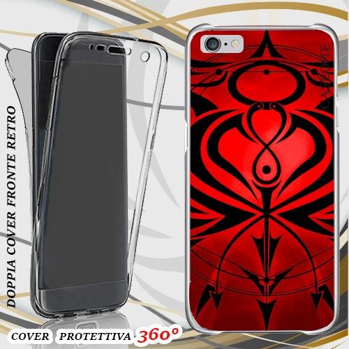 CUSTODIA COVER CASE RED TRIBAL PER IPHONE 6 PLUS FRONT BACK