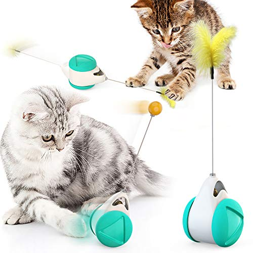 Bestio Cat Chasing Toy Balance Car Design Cat Interactive Toys Non-Battery Self Rotating Car Cat Toy with Cat Catnip Wand Chaser Fun Puzzle Toy for Cat Kitten IQ Active Stimulation