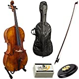Paititi Solid Wood Ebony Fitted 4/4 Professional Acoustic Cello Kit With Durable Fiber Glass Case