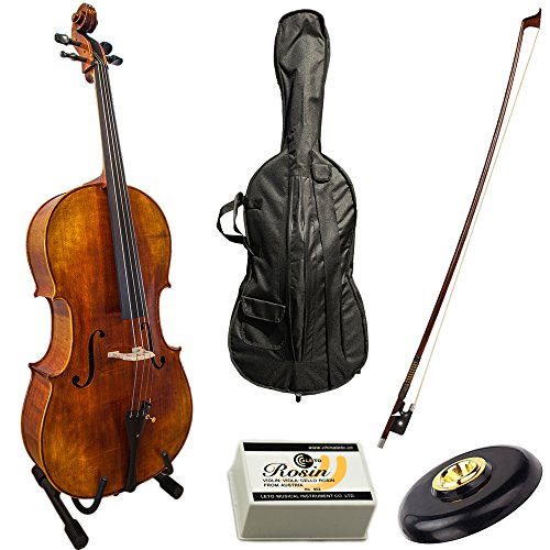 Paititi Solid Wood Ebony Fitted 4/4 Professional Acoustic Cello Kit With Durable Fiber Glass Case by Paititi