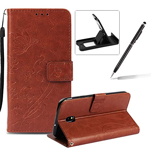 Strap Case for Samsung Galaxy J7 2018,Wallet Leather Cover for Samsung Galaxy J7 2018,Herzzer Classic Elegant [Brown Butterfly Pattern] PU Leather Fold Stand Card Holders Smart Phone Case ()