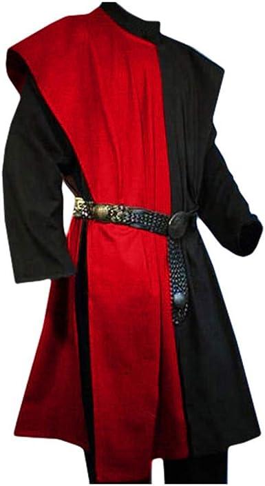 Hombre Lino Camisa Vintage Medieval Túnica Suelto Cuello ...