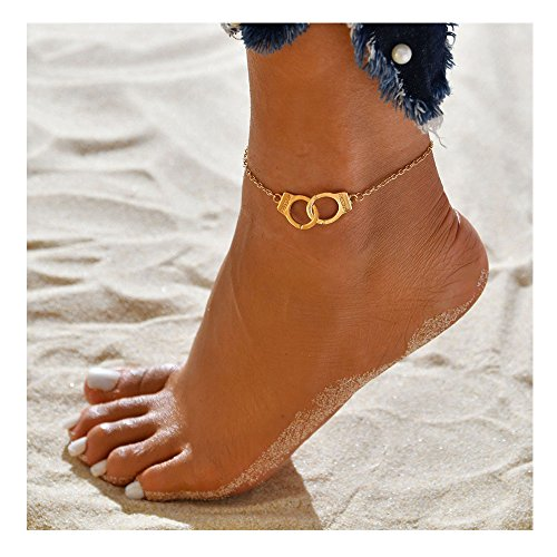 Vintage Silver Color Handcuffs Anklets for Women Bohemian Freedom Ankle Pendant Feet Jewelry (Gold)