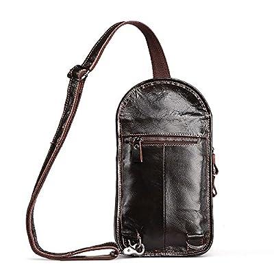 hongrun Mode paquet loisirs poitrine pack men's single shoulder bag est un sac en cuir pleine fleur poitrine Pack