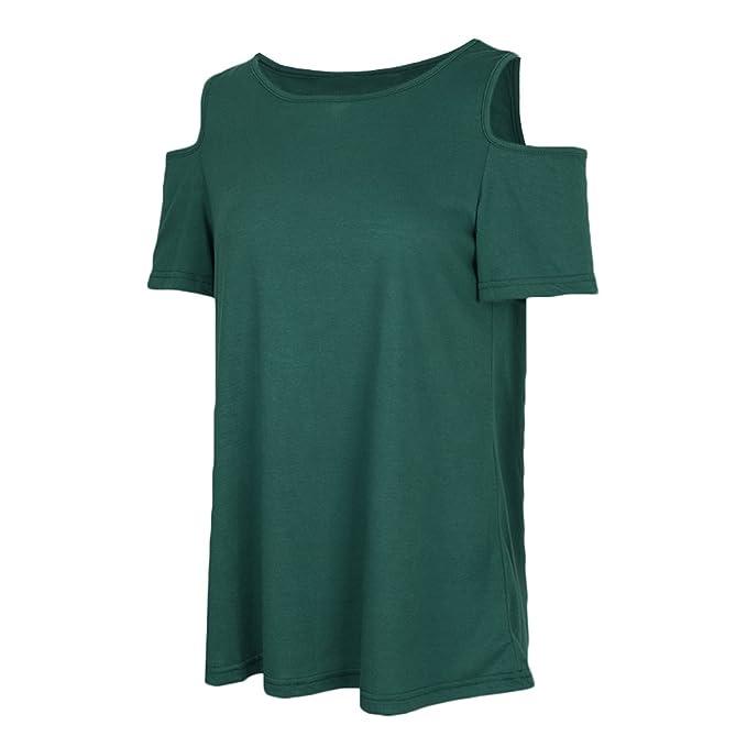 Homyl Camisa de Mujeres Señoras De Moda Tallas Grandes Blusa de Manga Corta Ocasionales - Verde