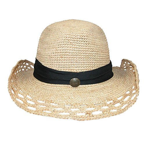 (Dynamic Asia Women's Shapeable Raffia Straw Hat with Open Weave Pattern Natural/Black)