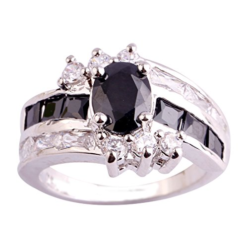 (Empsoul 925 Sterling Silver Natural Gorgeous Plated Two-Tone Black Spinel & White CZ Engagement Proposal Ring)