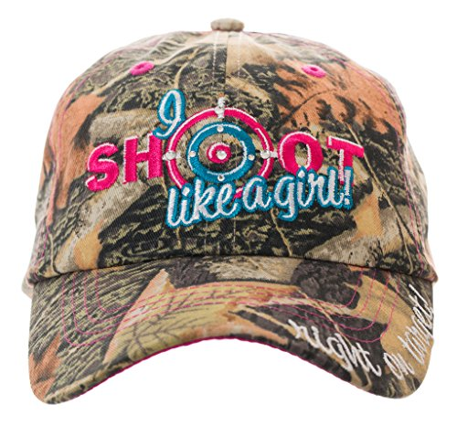 I Shoot Like A Girl! Embroidered Baseball Cap in Camo