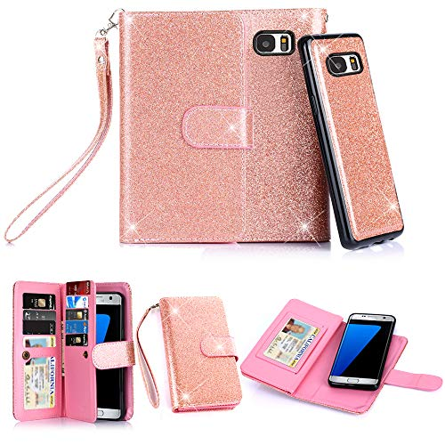 Galaxy S7 Edge Case, TabPow 10 Card Slot - [ID Slot] Wallet Folio PU Leather Case Cover With Detachable Magnetic Hard Case For Samsung Galaxy S7 Edge Case, - Glitter Rose Gold