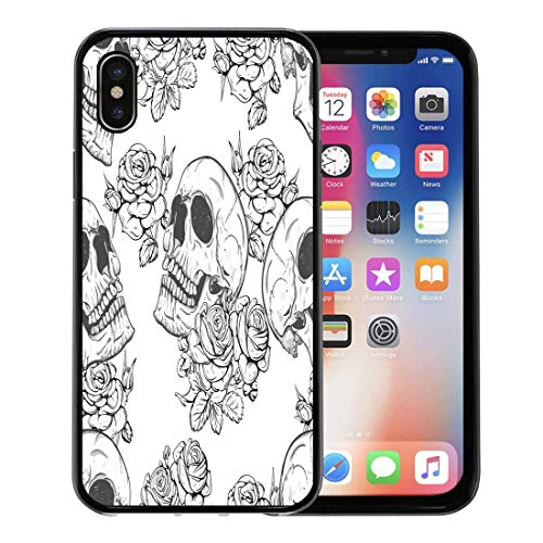 Semtomn Phone Case for Apple iPhone Xs case,Colorful Pattern Roses and Skulls Halloween Vintage Rock Tattoo for iPhone X Case,Rubber Border Protective Case,Black -