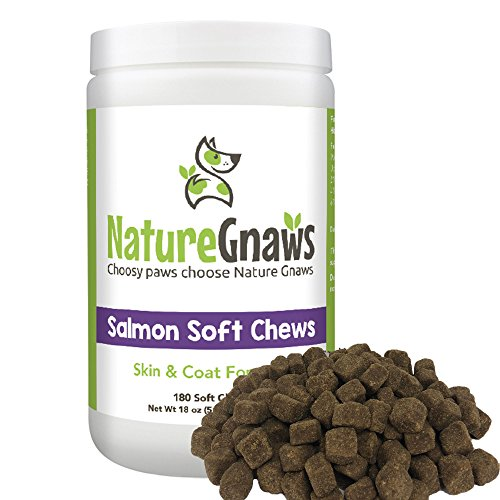 Nature Gnaws Salmon Soft Chews for Dogs - Extra Strength Omega 3 Fish Oil & Antioxident Formula for Dry Skin & Itchy Coat - 180 Bite Sized Treats