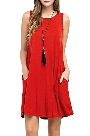 Amazon.com  CLANDY Women s Cotton Casual Swing Sleeveless Pockets Tank T-Shirt  Dress S-XXL  Clothing 2313051dd