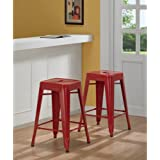 Tabouret 3503-24 24-inch Red Metal Counter Stools (Set of 2).