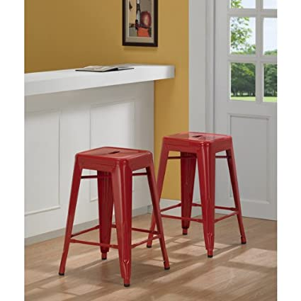 Amazon.com: Tabouret 3503-24 24-inch Red Metal Counter Stools (Set ...