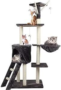 منزل شجرة للقطط للخربشة والتسلق مع سلة كوندو بتصميم برج متعدد الطوابق مع العاب معلقة للقطط من اجل اللعب والنوم (لون رمادي)