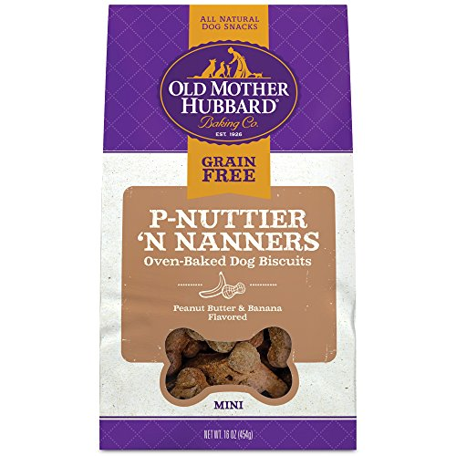 Old Mother Hubbard P-Nuttier 'N Nanners Grain Free Oven Baked Mini Dog Treats, Banana & Peanut Butter, 16-Ounce ()