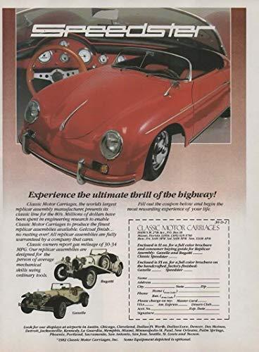 Magazine Print Ad: 1982 Classic Motor Carriages offer for Porsche Speedster Replica-Replicar-Kit Car, also Bugatti and Mercedes-Benz Gazelle,