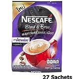 coffee bean powder hazelnut - Nescafe Blend & Brew Low Sugar (Pack of 27 Sachets) 3 in 1 Instant Coffee 25% Less Sugar