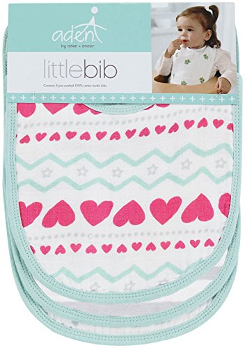 """aden by aden + anais Snap Bib, 100% Cotton Muslin, Soft Absorbent 3 Layers, Adjustable, 9"""" X 13"""", 3 Pack, Light Hearted"""
