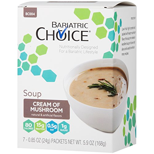Bariatric Choice High Protein Soup Mix / Low-Carb Diet Soup - Cream of Mushroom (7 Servings/Box) - Low Fat, Low Carb