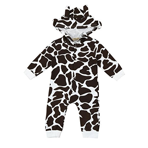 For 6 - 24 Months Odeer 2017 Casual Toddler Newborn Baby Boys Girls Cow Cartoon Hooded Rompers Outfits Long Sleeve Cotton Clothes Brown (0 - 6 Months) (0-6 Month Cow Costume)